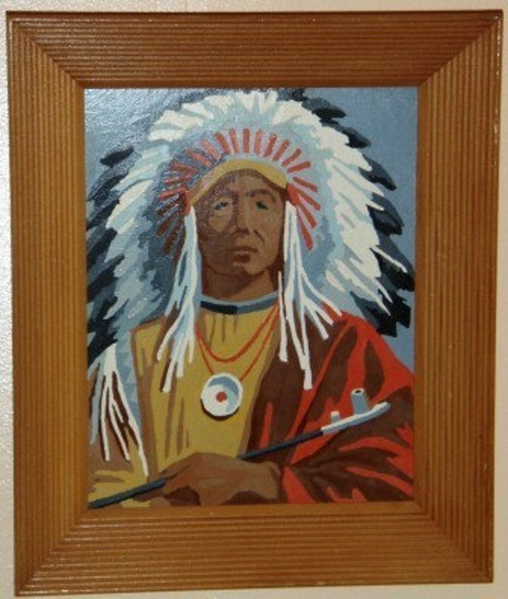 SALE 15 Percent Off ... 2 Retro paint by numbers Native CHIEF and INDIAN Princess ... vintage wall art