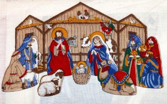 vintage sewing fabric panel ... NATIVITY SCENE ...