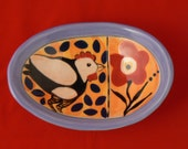 Ceramic soap dish, trinket dish, with chicken and flower