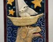 Ceramic Tile, Dog and Rabbit in Boat