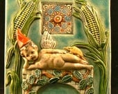 Ceramic Tile, Cherub with Corn and Party Hat