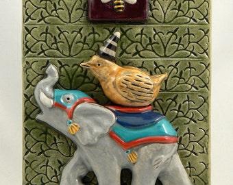 Ceramic Tile, Elephant with Bird