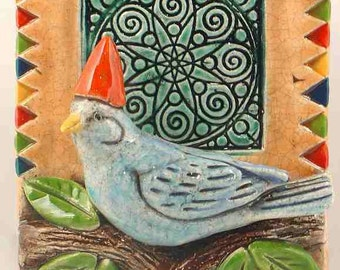 Ceramic Tile, BIrd in Party Hat