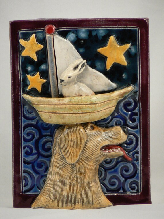 Reserved for Mike, Ceramic Tile, Dog and Rabbit in Boat