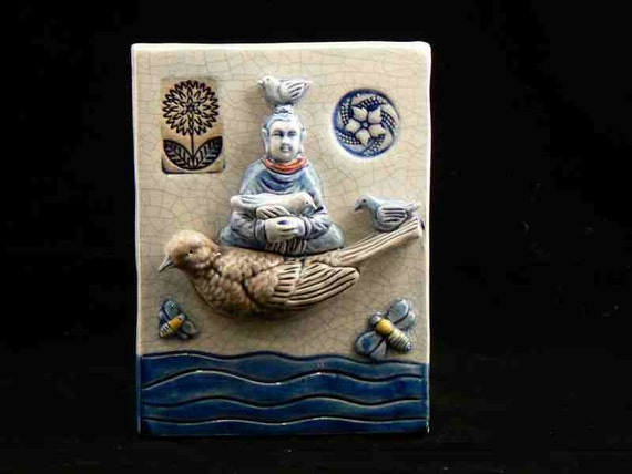 Reserved Listing for Rachel,Ceramic Tile, Buddha with Birds