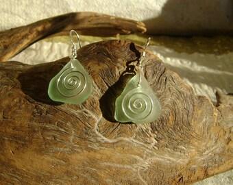 Sweet sea foam sea glass spiral earrings