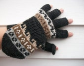 Alpaca glittens. Convertible mittens.  Texting gloves. 3 colors left.  Off white ( cream), brown, tan.
