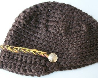 Red Army  crocheted hat. Only one in brown left. Brown hat. Cadet cap.  Hat with a brim.