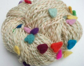 Hand spun art yarn.  My hearts.  Felted hearts.