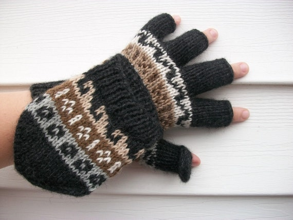 Alpaca glittens. Convertible mittens. Only 1 color available now. Black.