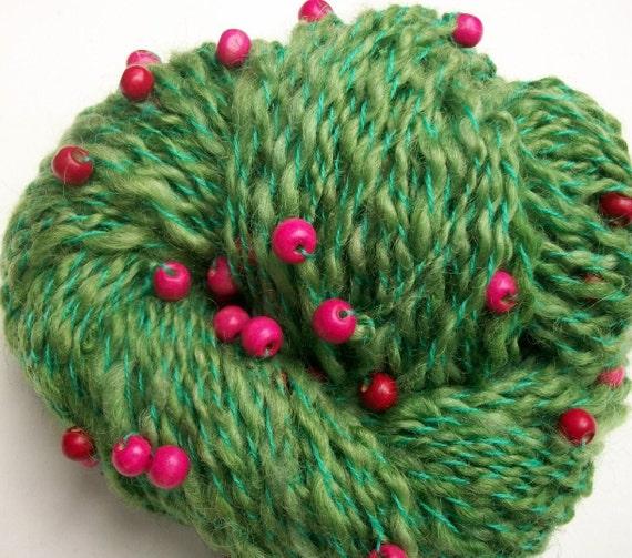 Handspun  art yarn. Wild Tennessee  cranberries.