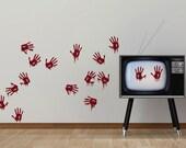 Bloody Hand Prints Creepy Vinyl Wall Art Pack