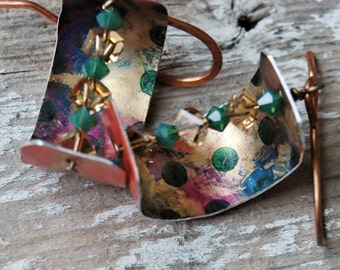 Gold, green polka dots, purple, orange with swavorski crystals on anodized aluminum earrings