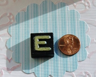 Upcycled, Vintage, wood anagram tile, pendant, Letter E, gift under 10