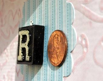 Upcycled, Vintage, wood anagram tile, pendant, Letter R, gift under 10