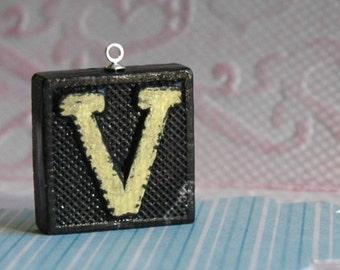 Letter V, Vintage anagram tile, gift under 10