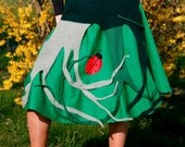 Boho Ladybugs in the Grass Wearable Art Flared Cabled skirt