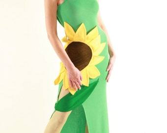 SALE Wearable Art Hippie Boho Sunflower dress