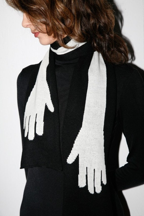 Gothinc Embracing Hands Wearable Art Black&White scarf
