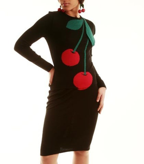 Wearable Art Cherries with 3D leaves - Chic top and skirt set