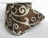 Chocolate Satin Swirl wired ribbon 3 1/2 Yards (2 1/2 inches wide)