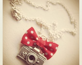 Retro Vintage Camera necklace with red bow