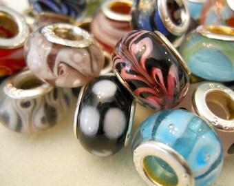 Assorted Murano Glass Charm Bead- .925 Sterling Silver core. Fit European Bracelets like Troll, Chamilia, Biagi