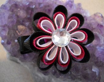 Black, Hot Pink and White Ribbon Flowers with a jewel center