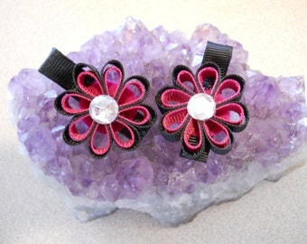 Black, with Hot Pink Ribbon Flowers with a jewel center- set of two