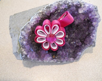 Hot Pink, with White Ribbon Flowers with a jewel center-