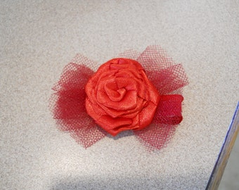 Red Hot satin rose with tulle Ribbon lined clip- must have