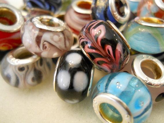 Pandora Style Assorted Murano Glass Charm Bead- .925 Sterling Silver core. Fit European Bracelets like Troll, Chamilia, Biagi