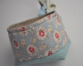 French Linen Tubby for Storage, Snacking or Sharing - Duck Egg Blue Faded Floral