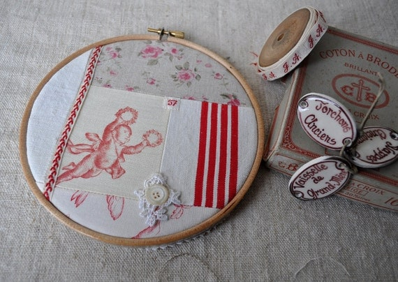 Vintage French Patchwork Large Embroidery Hoop - Antique Linens and Notions
