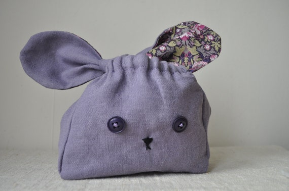 Lavender Linen and Liberty Lapin -Little Lunch Bag -  Petite Storage