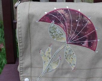 Radiant Flower Messenger Bag Olive Green Tote Purse Sling