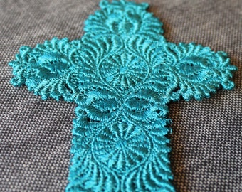 Ornate Cross Lace Bookmark Teal Blue Embroidery