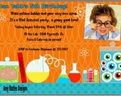 Science Boys Printable Invitation PDF Picture Included