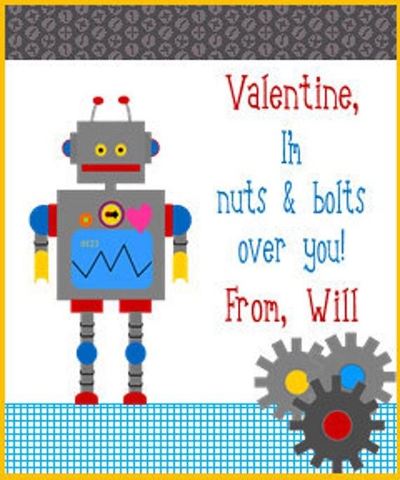 boy's printable robot valentine cardsaboyslife on etsy