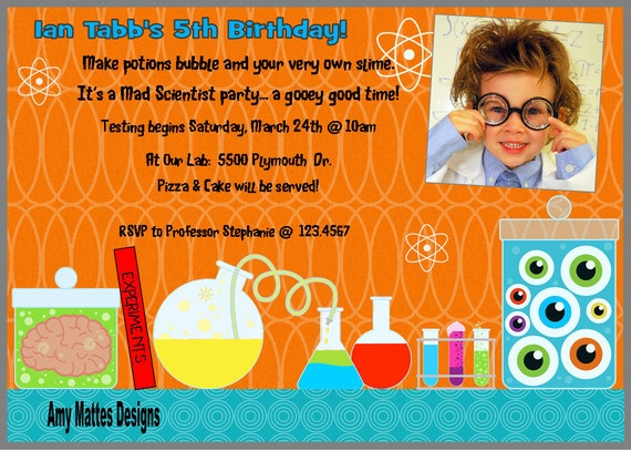 Science Boys Printable Party Package PDF Picture Included