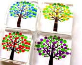 Glass tile magnets - Set of 4 Mod Trees in Yellow, Blue, Red and Purple