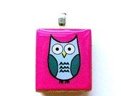 Owl Scrabble Tile Pendant - Teal on Pink