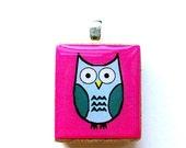 Owl Scrabble Tile Pendant - Teal on Pink