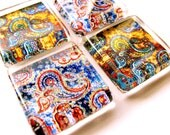 Glass tile magnets - Set of 4 Paisleys in Yellow and Blue