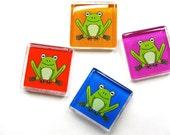 Frog magnets -- Set of four on Orange, Magenta, Blue and Red
