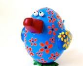 Small Blue Folk-art Bird Figurine