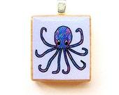 Octopus Scrabble Tile Pendant -- Multicolor on Blue