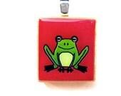Frog Scrabble Tile Pendant -- Green on Red