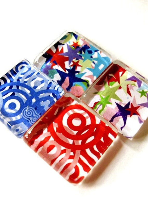 Glass tile magnets - 4 Circles and Stars in Red, Blue, Green and Purple