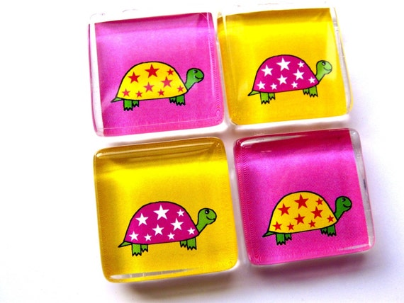 Glass tile magnets - Set of 4 Turtles in Pink and Yellow
